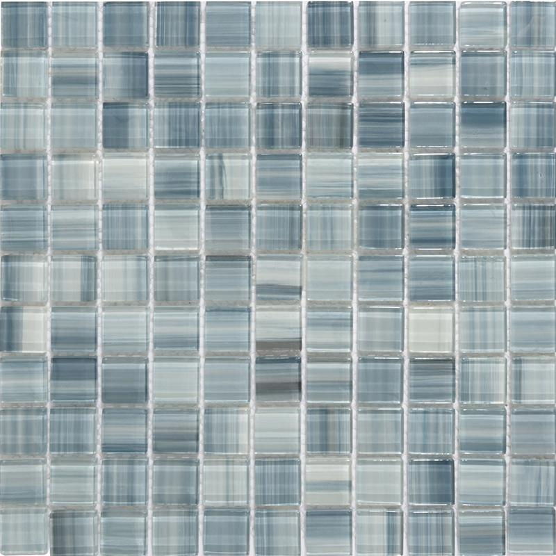 glass tile backsplash hand painted blue crystal glass mosaic wall