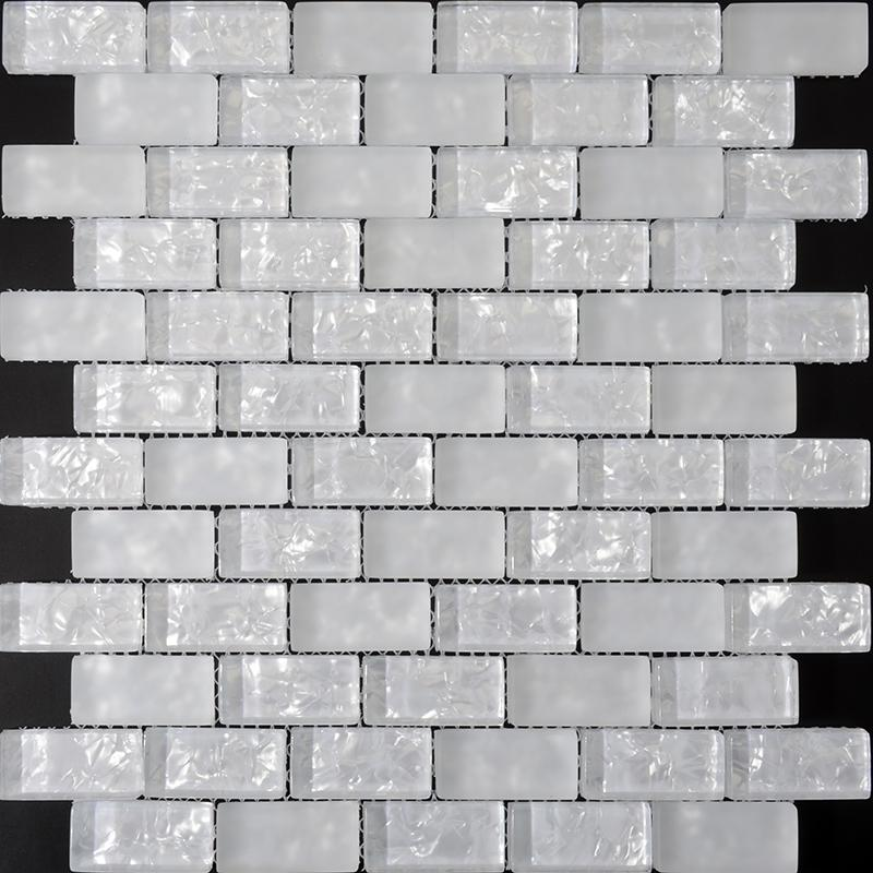 Crackle Glass Mosaic Tiles Ice Pearl Glass Subway Tile Zz015