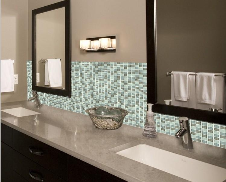 Crystal glass mosaic tile backsplash bathroom mirror wall for Images of bathroom backsplashes