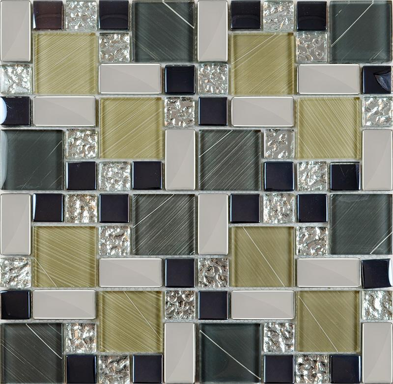 Kitchen Floor Tiles Design Malaysia: Glass Mosaic Tile Backsplash Kitchen Metal Coating Tile