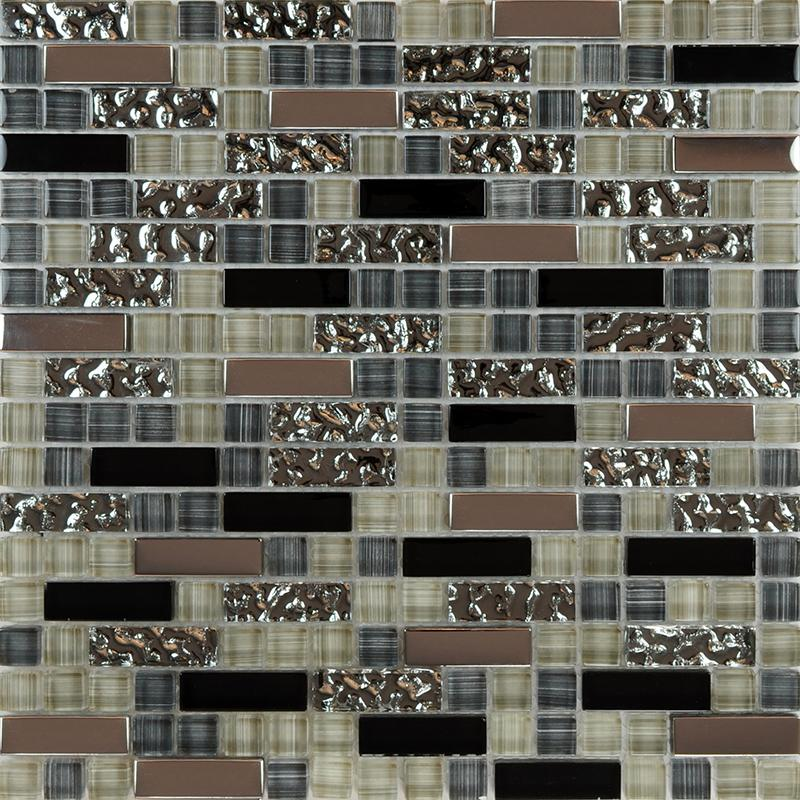 Glass mosaic tile backsplash kitchen metal coating tile Mosaic kitchen wall tiles ideas