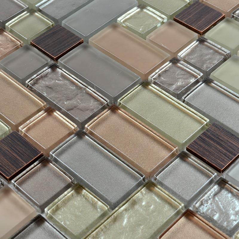 Metal Glass Tile Crystal Mosaic Brushed Stainless Steel