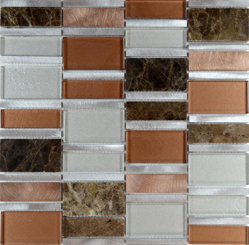Stone Mosaic Tile Backsplash Stainless Steel & Glass Metal