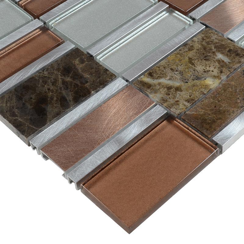 Stone Mosaic Tile Backsplash Stainless Steel Glass Metal Tiles Mg009