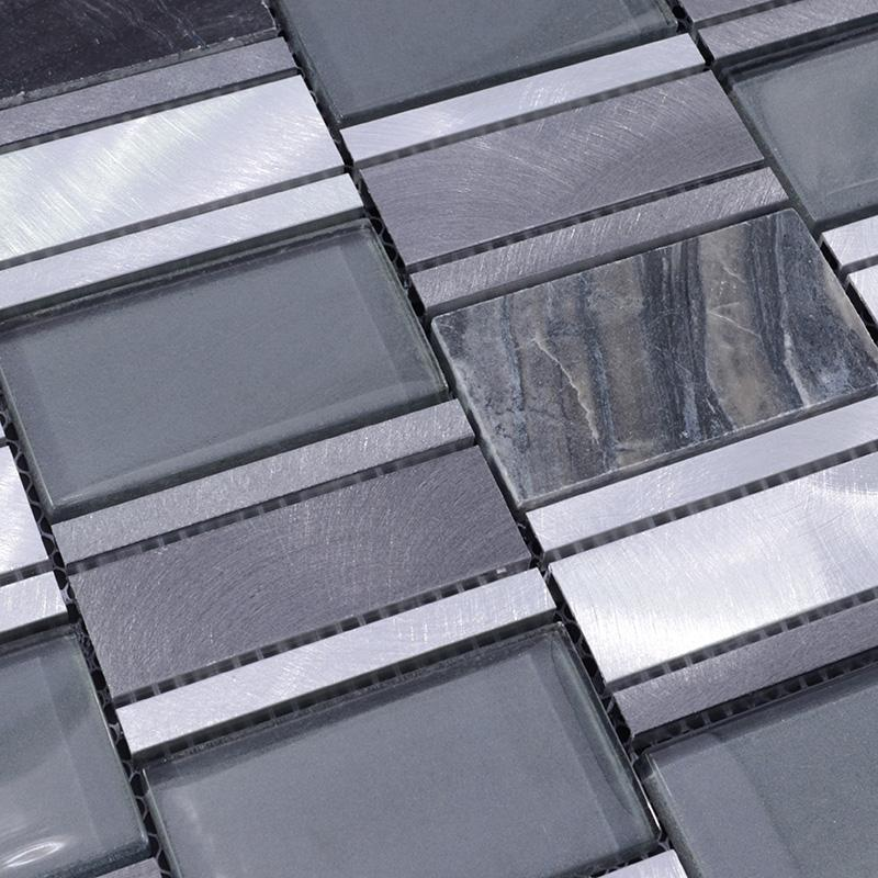 Stone Metal Blend Brushed Stainless Steel Marble Floor Tile Mg012