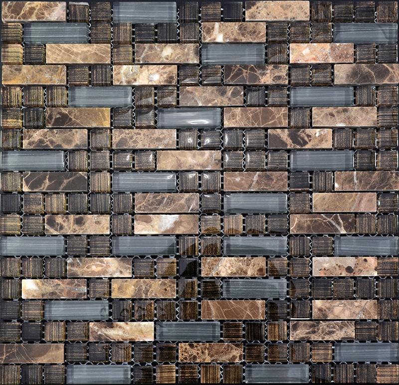 Natural Stone Tile : Glass stone mosaic tile natural interlocking