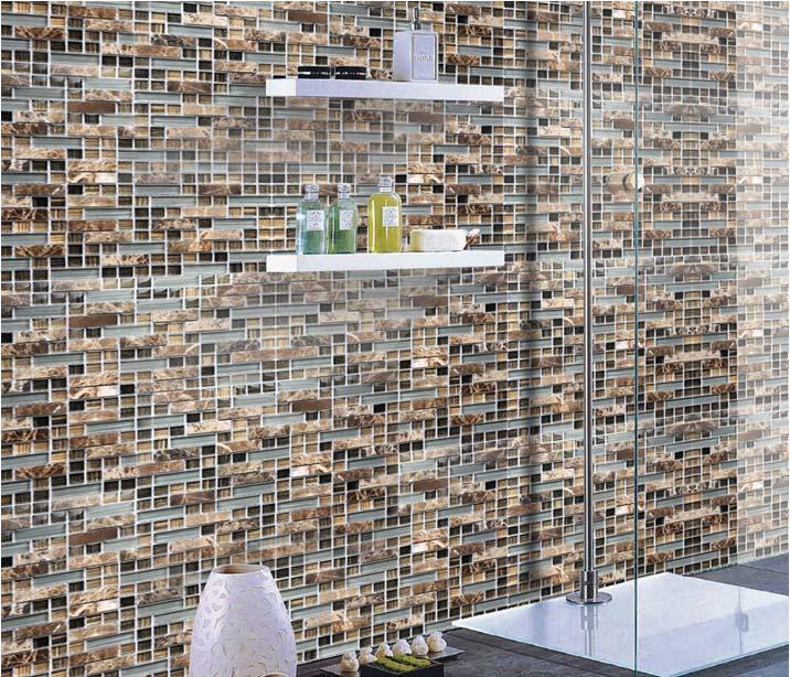 Glass Stone Mosaic Tile Natural Stone Glass Interlocking Tile Sg077