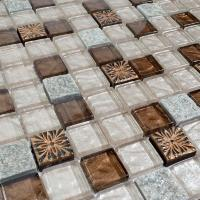 crystal glass tile sheets natural stone and glass blend mosaic wall tiles glass mosaic marble tile kitchen backsplash SG117