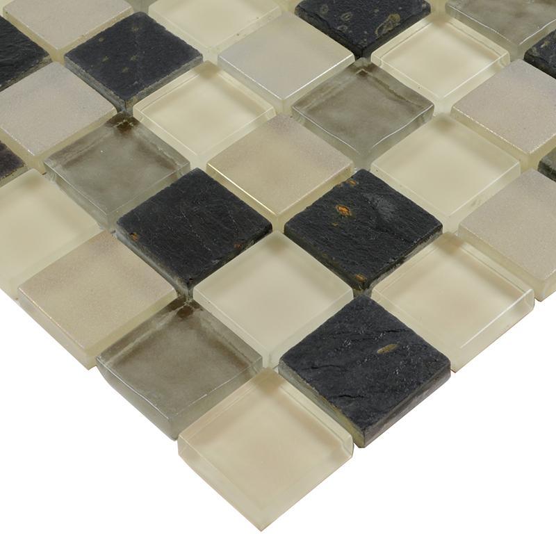 crystal glass tile backsplash stone glass blend mosaic wall tiles