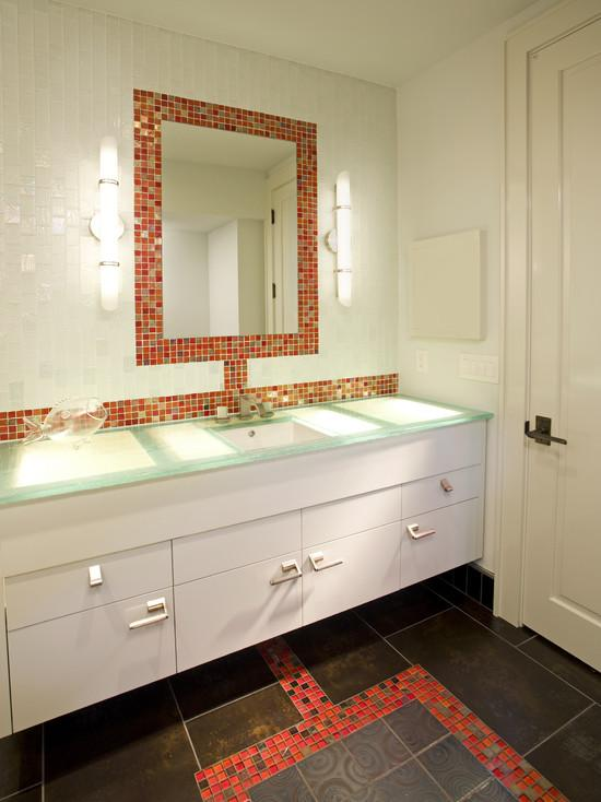 Glass tile backsplash mirrored mosaic designs mirror tiles for Glass mirrors for bathrooms