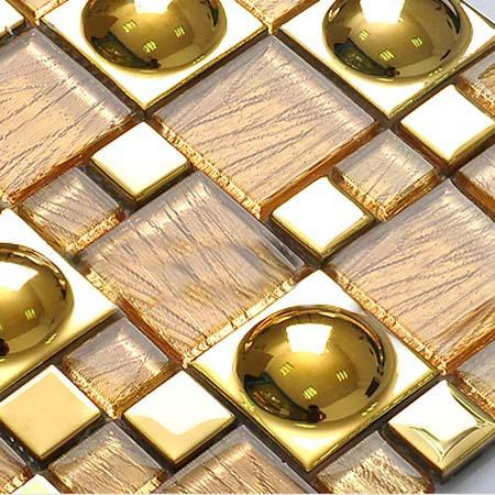 Glazed porcelain tiles gold crystal glass mosaic tile for Painting ceramic tile kitchen backsplash