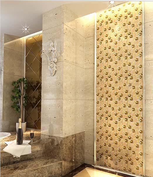 Glazed porcelain tiles gold crystal glass mosaic tile - Painting ceramic tile walls ...
