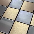 metallic mosaic tiles brushed aluminum kitchen backsplash designs decorative metal tile brick bathroom wall wall panel 9105