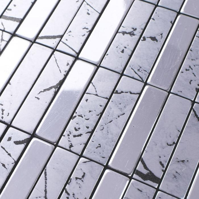 Metallic mosaic tiles aluminum wall panels metal for Aluminium composite panel interior decoration