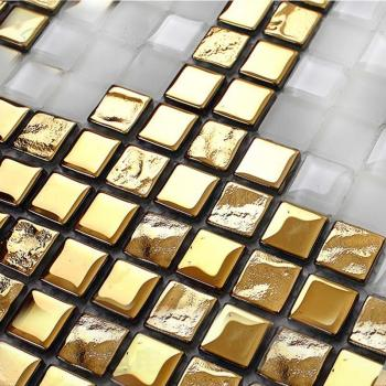 gold glass mosaic tile patterns frosted crystal glass tile backsplash puzzle mosaic tile art 15x15mm wall and floor tiles 2131