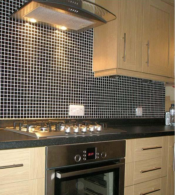 Kitchen With Black Tiles: Porcelain Tile Backsplash Black Glazed Ceramic Mosaic