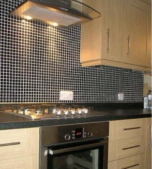 kitchen porcelain tile backsplash black glazed ceramic mosaic flooring designs HB-009 bathroom wall tiles swimming pool tile