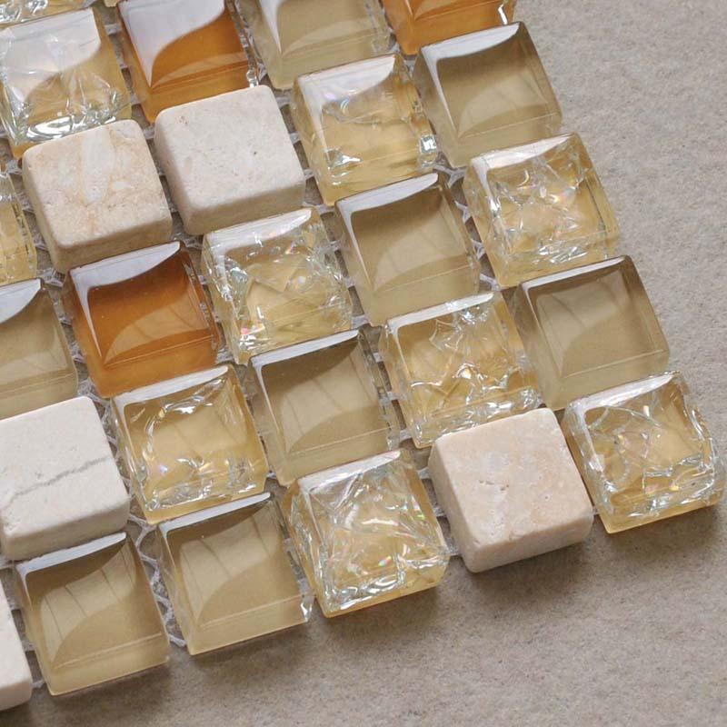 crackle glass mosaic tile backsplash kitchen mosaic stone