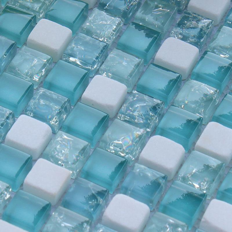 Crackle glass mosaic tile backsplash blue mosaic stone tiles stbl001 for Glass mosaic tile backsplash bathroom