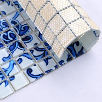 blue glass mosaic tile patterns frosted crystal glass tile backsplash puzzle mosaic tile art 15x15mm wall and floor tiles SM111