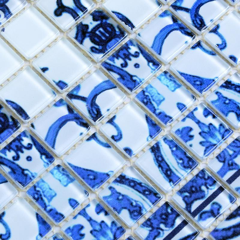 blue glass mosaic tile patterns frosted crystal glass tile backsplash puzzle mosaic tile art 15x15mm wall and floor tiles SM112
