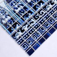 blue glass mosaic tile patterns frosted crystal glass tile backsplash puzzle mosaic tile art 15x15mm wall and floor tiles SM113