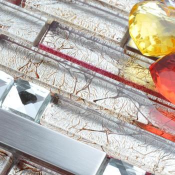 glass mosaic tile backsplash interlocking metal glass tile diamond kitchen metallic tiles with base T004 bathroom wall tiles