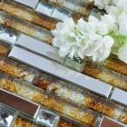 glass mosaic tile backsplash interlocking metal glass tile diamond kitchen metallic tiles with base T005 bathroom wall tiles