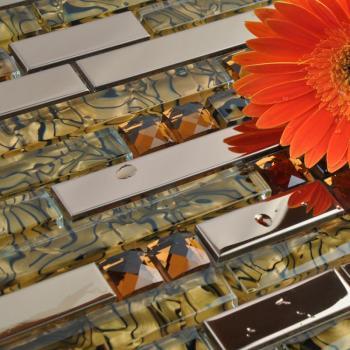 sample crystal glass tile backsplash interlocking metal glass mosaic tile sheets stainless steel tiles with base DD13