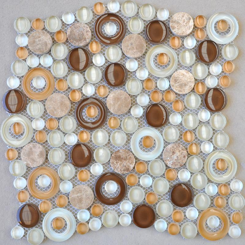 Penny Round Backsplash: Glass Mosaic Tile Penny Round Stone Mosaic Kitchen