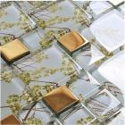 crystal glass tile backsplash metal coating mosaic glass floor tiles kitchen backsplash tiles F206 bathroom wall tile patterns