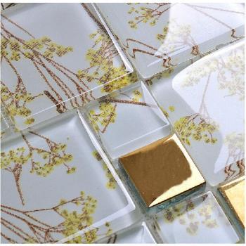crystal glass tile backsplash metal coating mosaic glass floor tiles kitchen backsplash tiles F206 bathroom wall tile patterns