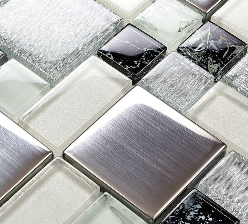 Brushed Stainless Steel Crackle Crystal Glass Tile