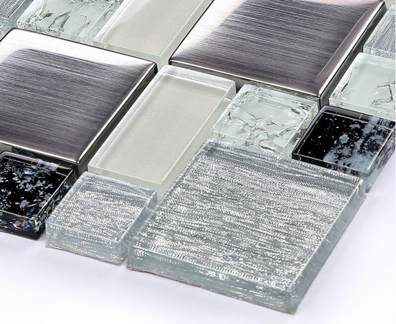 brushed stainless steel crackle crystal glass tile ...