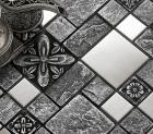 brushed stainless steel backsplash kitchen ceramic wall tiles silver metal mosaic tile B965 black glazed porcelain floor tile