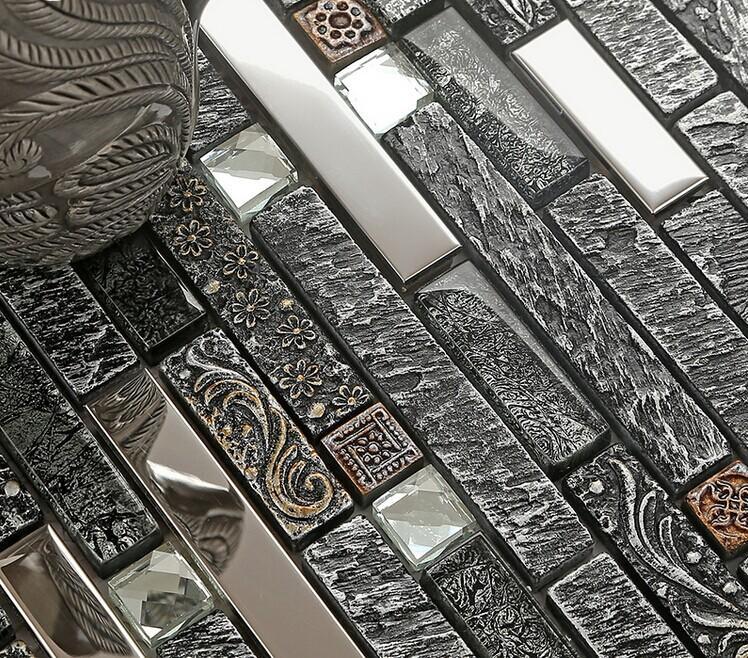 Ceramic Tiles Backsplash Stainless Steel Diamond Glass Mosaic B967 1