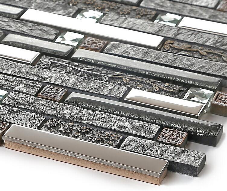 Ceramic Tiles Backsplash Stainless Steel Diamond Glass Mosaic B967 2