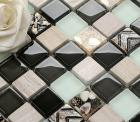 ceramic glass tile backsplash kitchen crystal glass mosaic tiles B974 porcelain resin seashell bathroom floor tile design