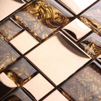 gold stainless steel wall tile porcelain base metal crystal glass amber pattern metallic mosaic