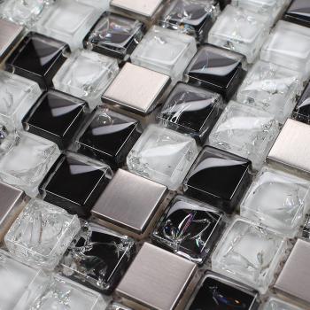 crystal mosaic tile backsplash brushed stainless steel with porcelain base crack glass wall tiles
