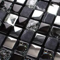 stone glass tiles 304 brushed stainless steel wall tile diamond crystal backsplash KS66B bathroom marble tile crackle glass tile
