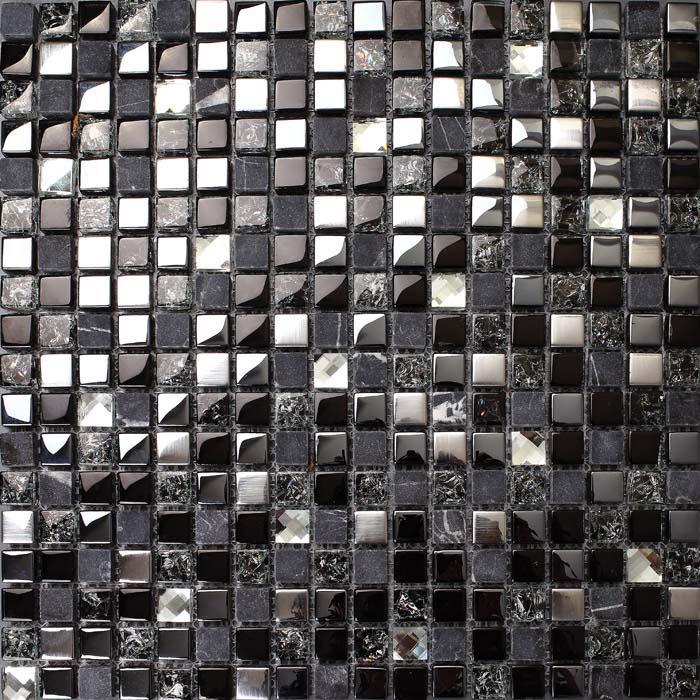 metal tile diamond crack crystal glass backsplash stone mosaic brushed