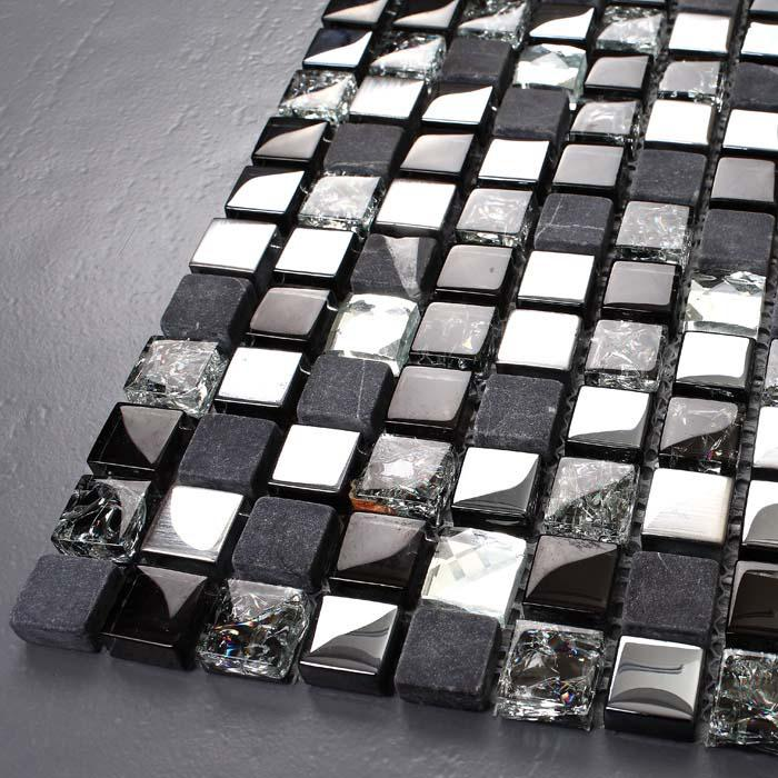 Wholesale Metal Tile Diamond Crack Crystal Glass Backsplash Stone Mosa