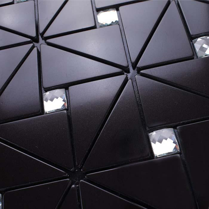 Metallic Tile Kitchen Backsplash Wall Tiles Diamond Crystal Glass Mosaic Black Metal Aluminum Panel