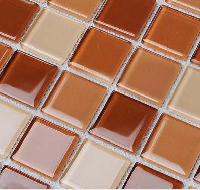 Wholesale Glass Mosaic for Swimming Pool Tile Sheet Brown Crystal Back