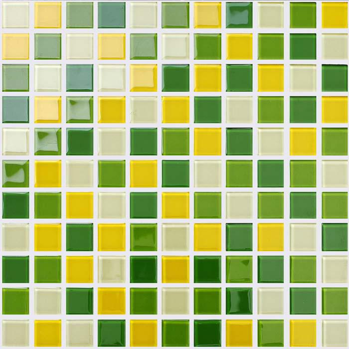 Wholesale glass mosaic for swimming pool tile sheet green for Yellow mosaic bathroom tiles