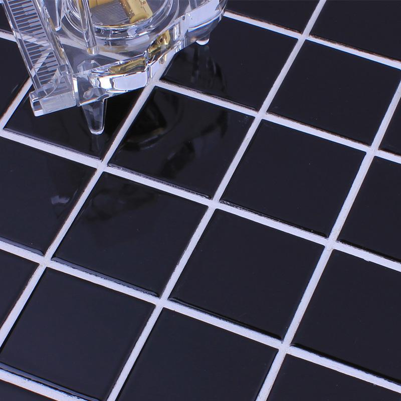 Wholesale Glazed Porcelain Brick Tile Mosaic Black Square
