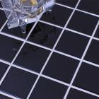 glazed porcelain brick tile mosaic black square surface art tiles floor bathroom mirror wall sticker