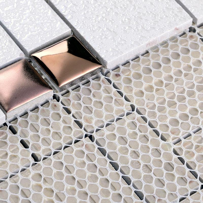 Wholesale Porcelain Mosaic Floor Tile Grey Square Iridescent Tile Kitc