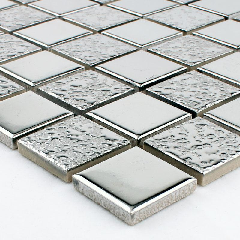 Kitchen Tiles Square: Wholesale Porcelain Mosaic Grey Square Metal Coating Tile